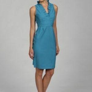 London Times Ruffle Neck Sheath Dress
